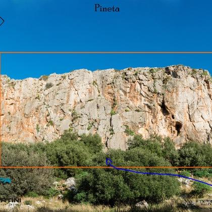 Übersichtsbild Klettergarten Pineta auf Sizilien.