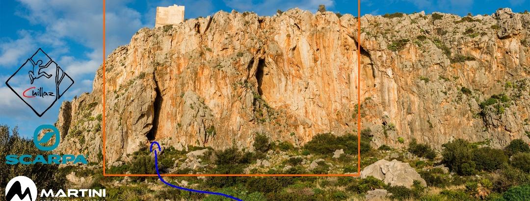 Übersichtsbild des Klettergarten Torre Isulidda bei San Vito lo Capo.