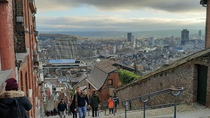 Montagne de Bueren with a breathtaking view of the city of Liège