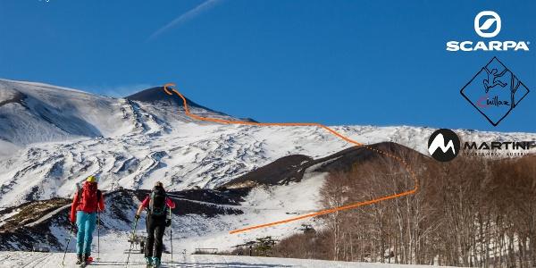 Etna Nordanstieg Skimo - Topo, Übersichtsbild
