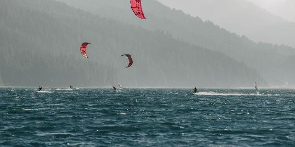 Kiter on Lake Silvaplana