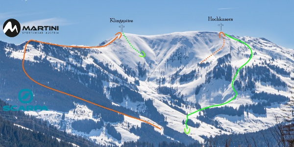 Übersichtsbild Skitour Klingspitze, Hochkasern - Topo.