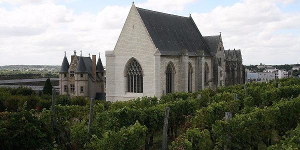 Vue intérieure sur la chapelle et le logis du château