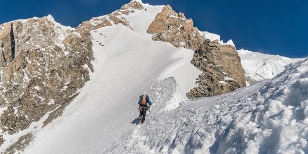 Die letzten 500 Hm am oberen Peutereygrat. Bei guten Verhältnissen (sprich Trittfirn) ein Traum.