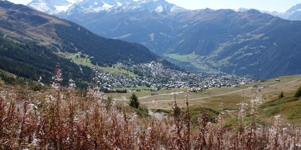 View of the resort of Verbier from the col of Croix de Coeur
