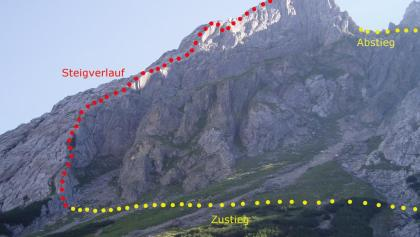 Topo des Tajakante-Klettersteigs