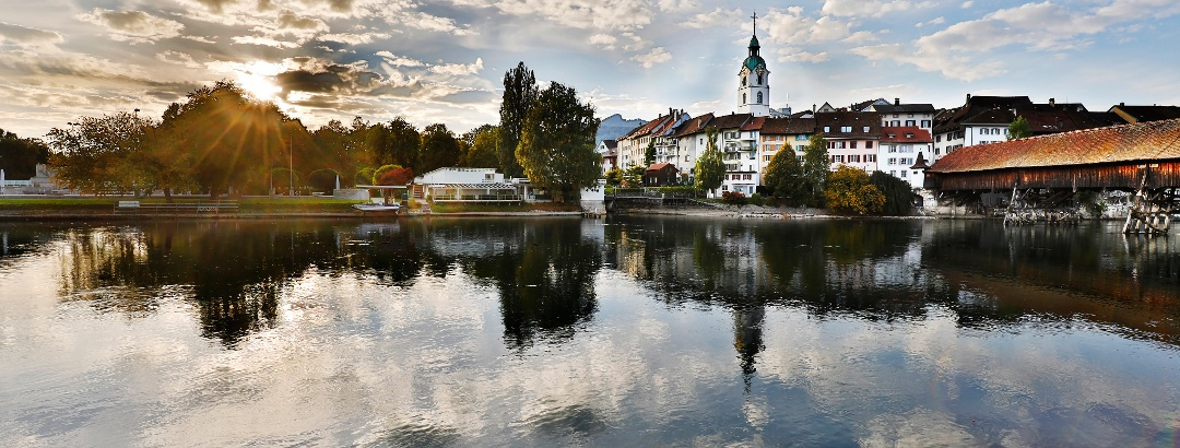 Altstadt von Olten mit der Holzbrücke