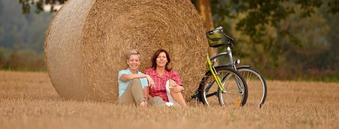 Radfahrer im Feld