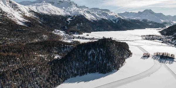 frozen lake of Champfèr and lake of Silvaplana