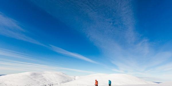 Palkaskeron valloitus -lumikenkäilyreitti vie avotunturiin Pallastunturilla