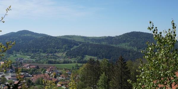 Ausblick vom Ortsrand Bodenmais zum Harlachberg