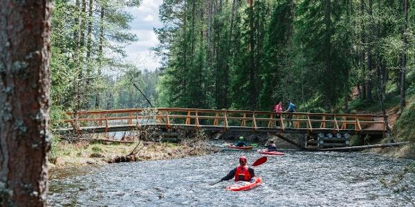 The Perankajoki rapids offer paddlers challenges