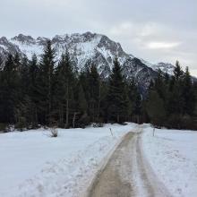 Aufstieg: Blick zurück auf den Karwendel.