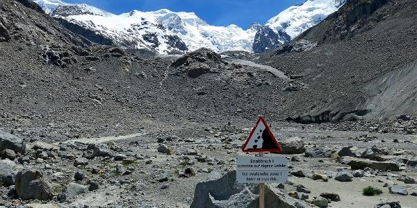 Am Ende des Morteratsch-Gletscherweges.