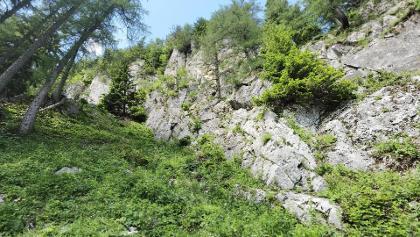 Blick auf die Kletter Passage
