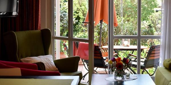 Blick auf Terrasse Apartment 2