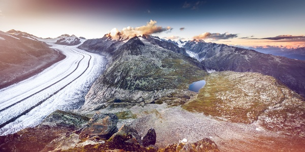 View of the massive Aletsch glacier with the Fiesch glacier in the background