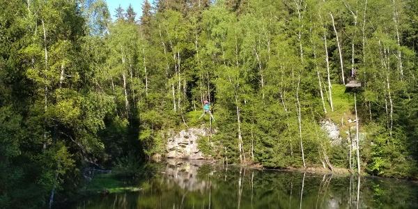 Flying-Stülpner im Erlebniskletterwald Greifensteine
