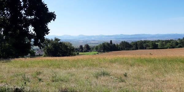 Blick nach Süden zu den Bergen im Traisental