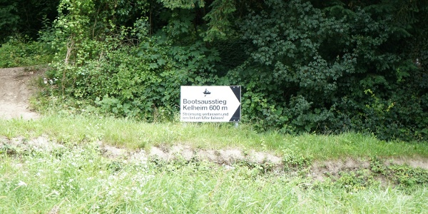 Hinweis Bootsausstieg Kelheim-Fischerdörfl