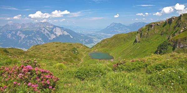 Viltersersee mit Ausblick über das Rheintal
