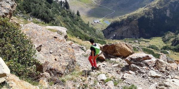 Die Aglsbodenalm beim Abstieg von der Grohmannhütte.
