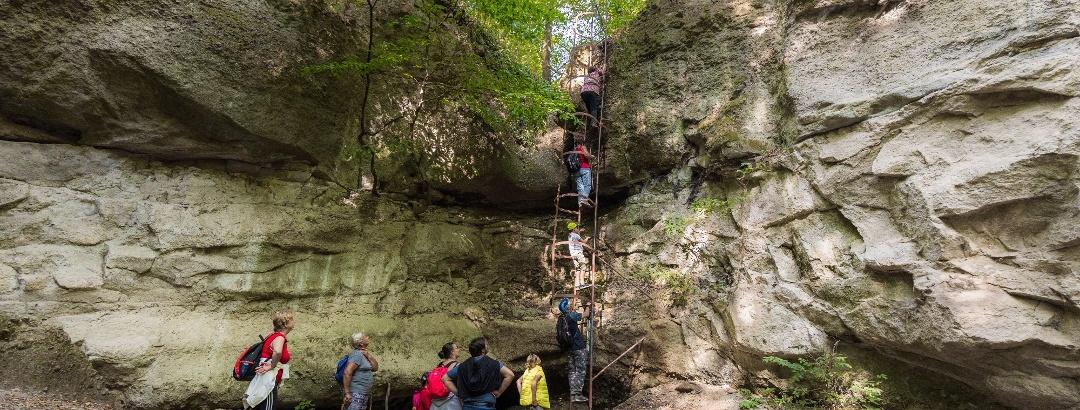 The Meteor Ladder in Holdvilág-árok (Moonlight Gorge)