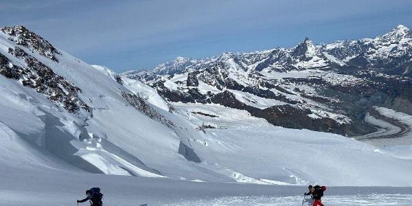 On the way to the Dufourspitze. It's well worth looking back at the Gorner Glacier and the Matterhorn