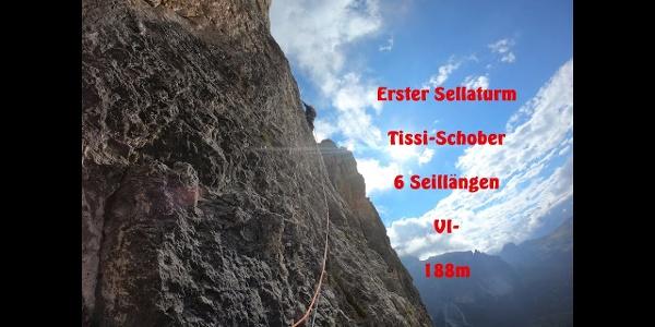 Erster Sellaturm, Südwand, Tissi Schober, Prima torre del Sella, parate sud