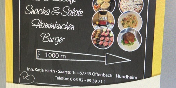Hinweistafel Café