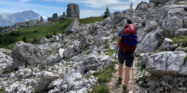 Hiking toward the Cinque Torri in the Dolomites