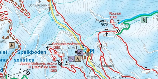 Winter hiking trail from Lutago-Luttach to Campo Tures-Sand in Taufers