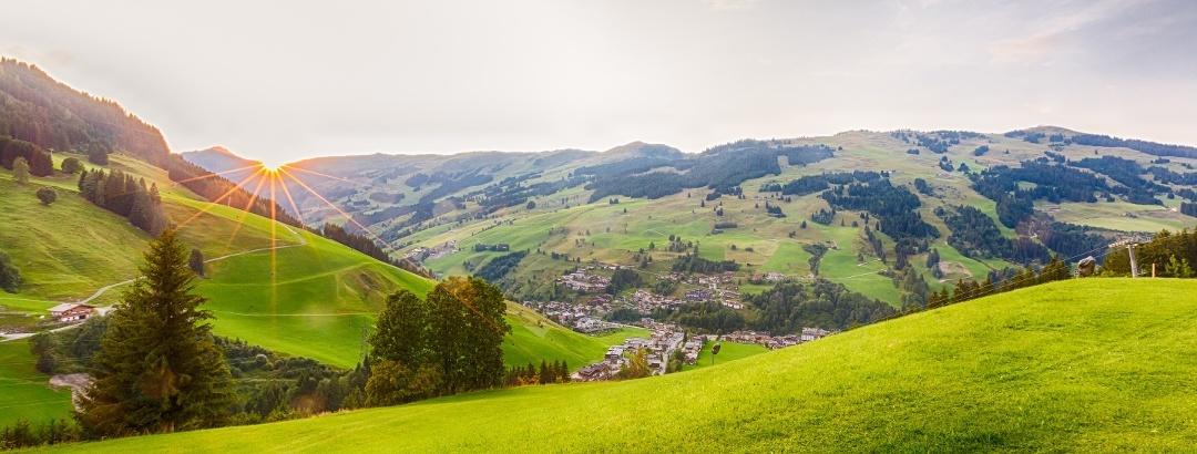 View over Saalbach Hinterglemm village in summer, Austria, Alps
