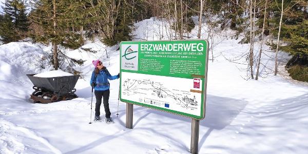 Einstieg der Schneeschuhtour und des Erzwanderweges