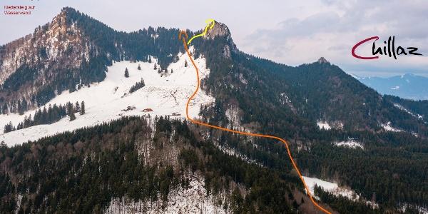 Übersichtsbild Skitour auf Heuberg und Wasserwand.