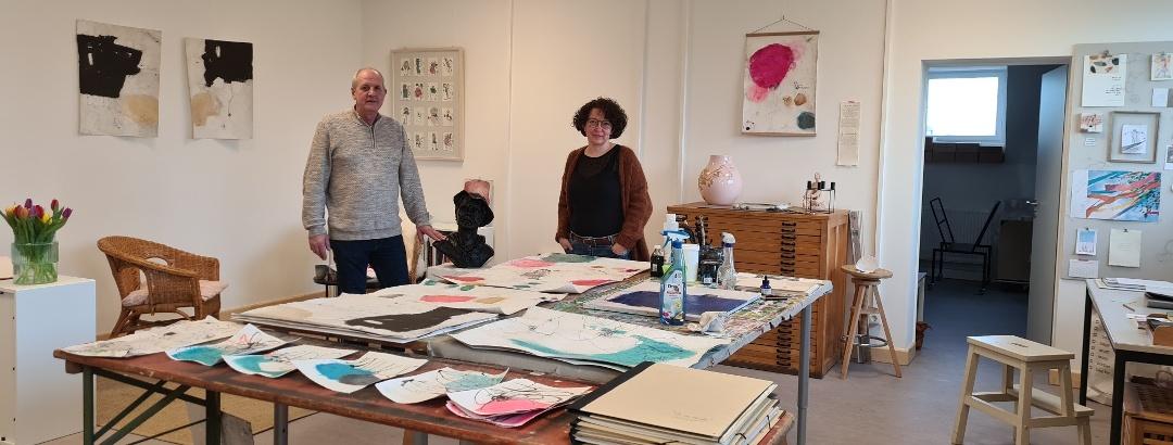 Atelier von Andrea Much, Künstlerin im Schirrhof, mit Künstler Jörg Winke