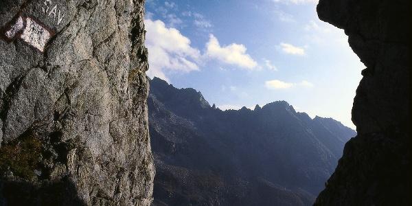 Rocky lookout at Schwarzenbachtörl on 2554 meters.