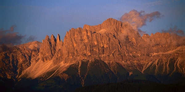 """The Catinaccio when the sun sets, in the area people call it the """"alps burning""""."""
