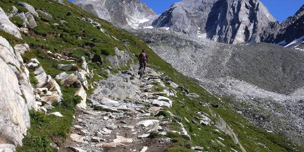 Manchmal kreuzen sich auf dem Weg zum Eisjöchl der Berggeher und Mountainbiker.
