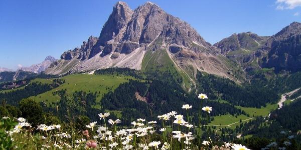 Die Wanderung führt vom Würzjoch zum Fuße des Peitlerkofels in den Dolomiten