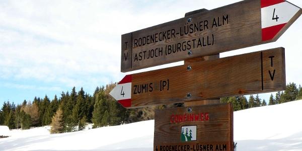 Alternative für Schneeschuhwanderer  – Weg 4 bis zur Ronerhütte.