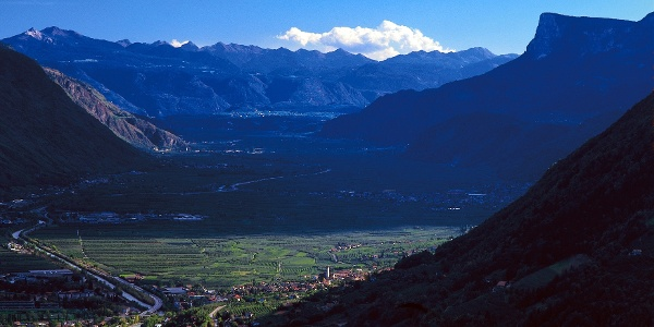 The panoramic view on the Val d' Adige valley.