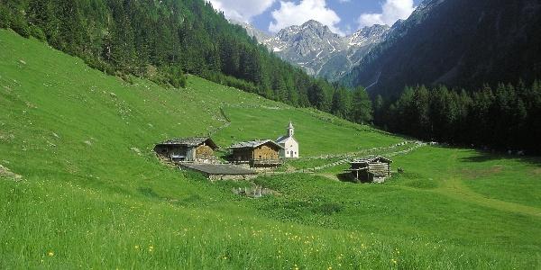 The idyllic Pfistradalm over San Lorenzo in Val Passiria valley.