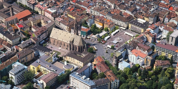 Panoramic view of old city of Bolzano, the tour starts not far from here