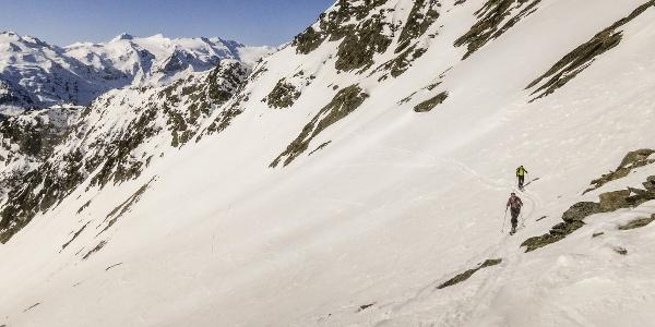 Amazing ski touring trail for spring to the Punta Lasa mountain in Val Martello valley.