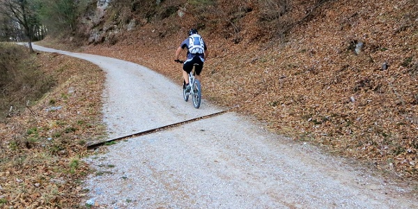 Auf den Überetscher Höhenwege geht es mit dem Mountainbike großteils auf Schotter von Eppan nach Tramin.