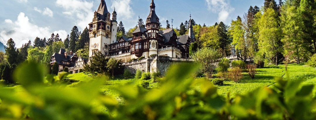 Peleș Castle in the spring