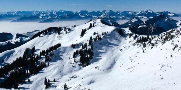 Aus dem Gipfelhang überblickt man die schönen Skihänge unter der Mühlhornwand.