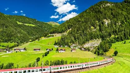 Passenger train at the Brenner Railway in Austria