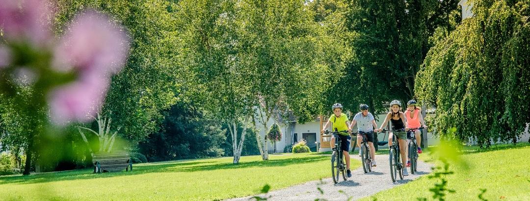 Familie beim Radfahren durch Bad Waltersdorf